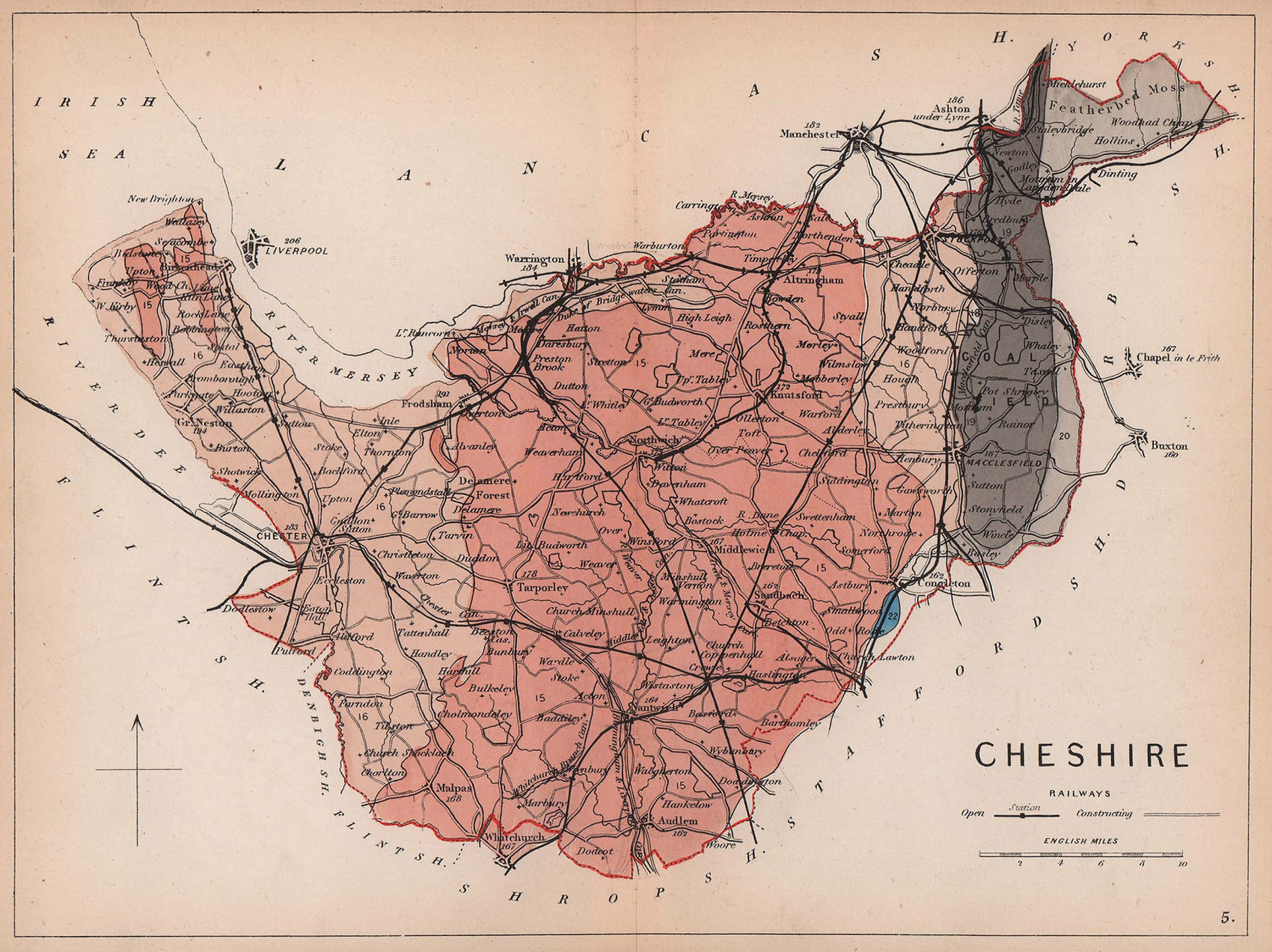 CHESHIRE antique geological county map by James Reynolds 1864