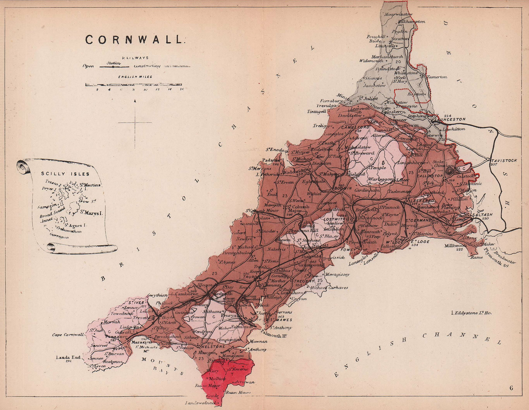 CORNWALL antique geological county map by James Reynolds 1864