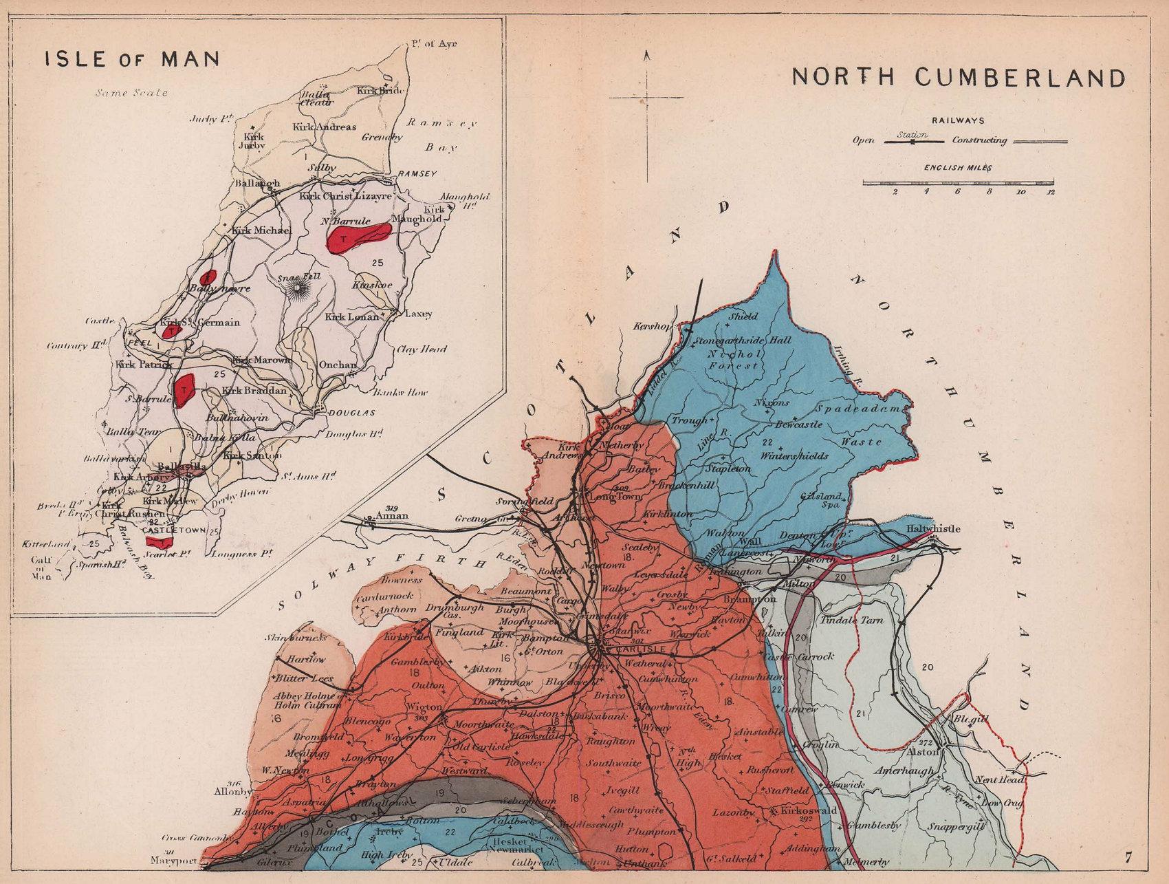 CUMBRIA. North Cumberland & Isle of Man geological county map. REYNOLDS 1864