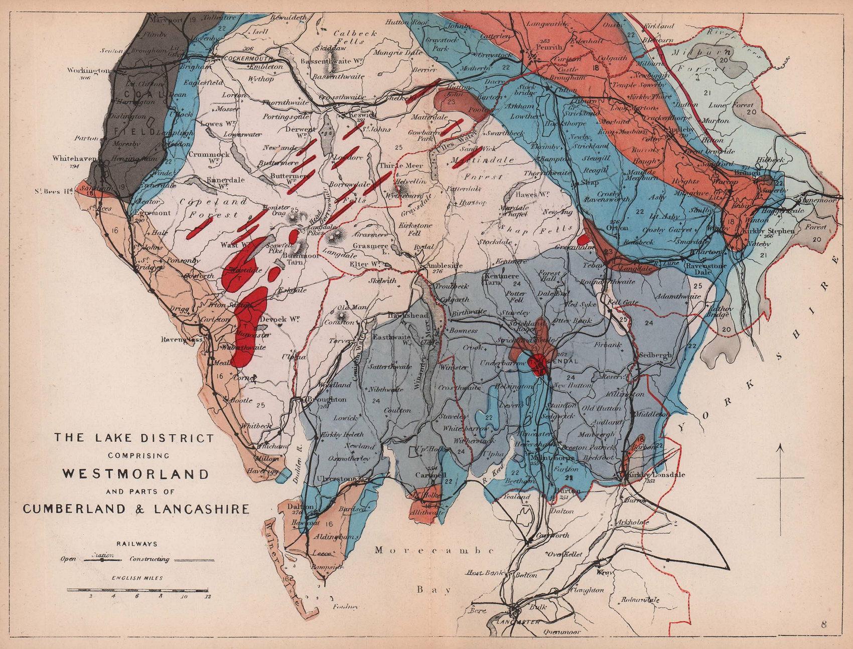LAKE DISTRICT. Westmoreland Cumberland Lancashire geological map. REYNOLDS 1864