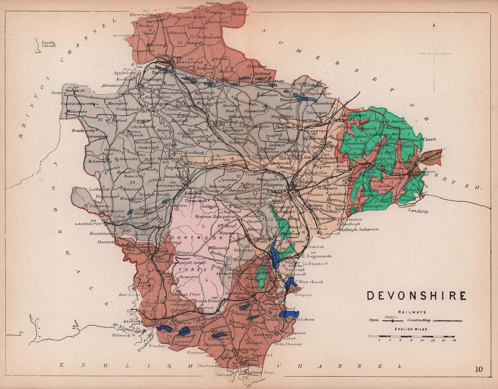 DEVON. Devonshire antique geological county map by James Reynolds 1864