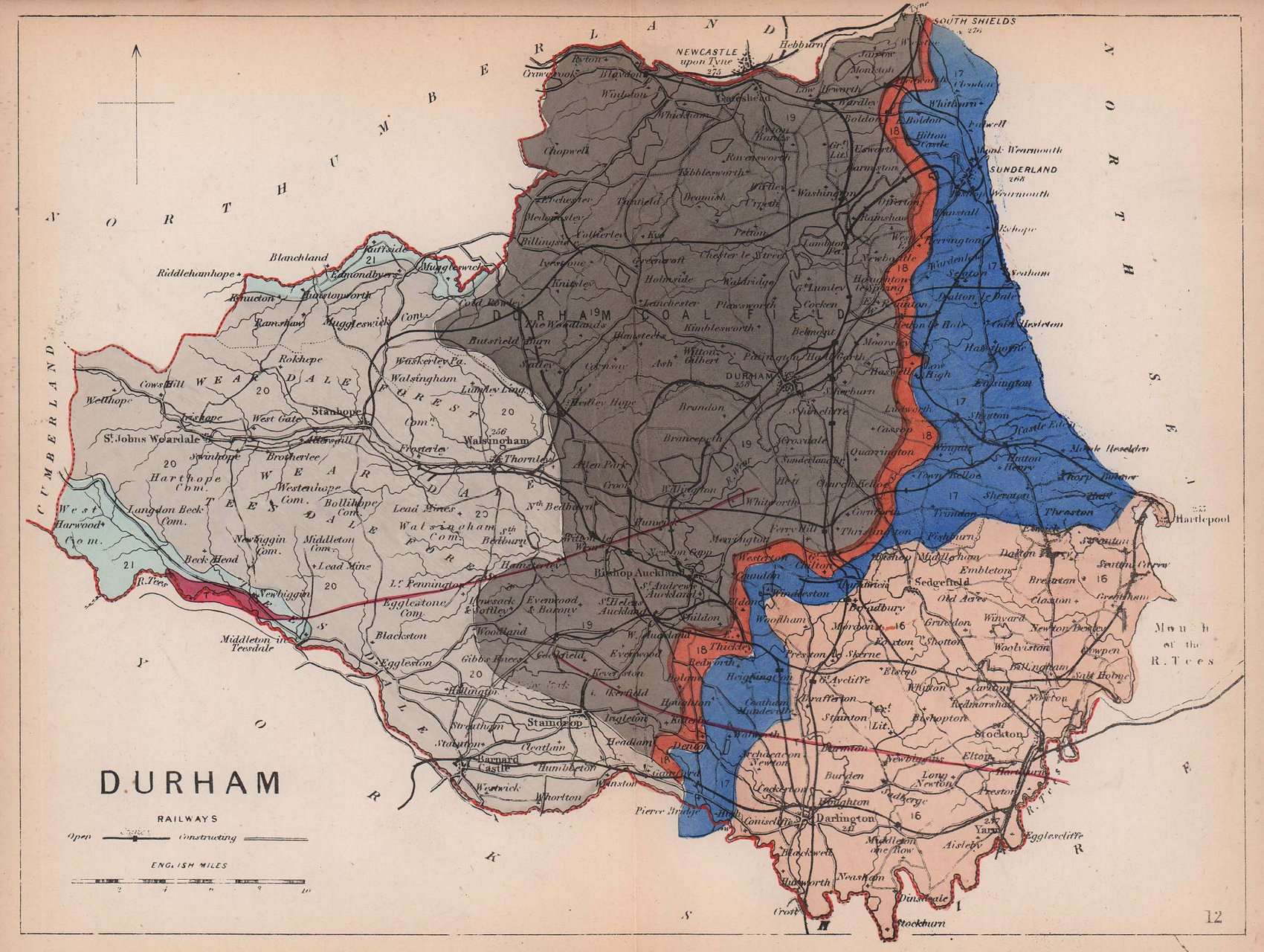 COUNTY DURHAM antique geological county map by James Reynolds 1864