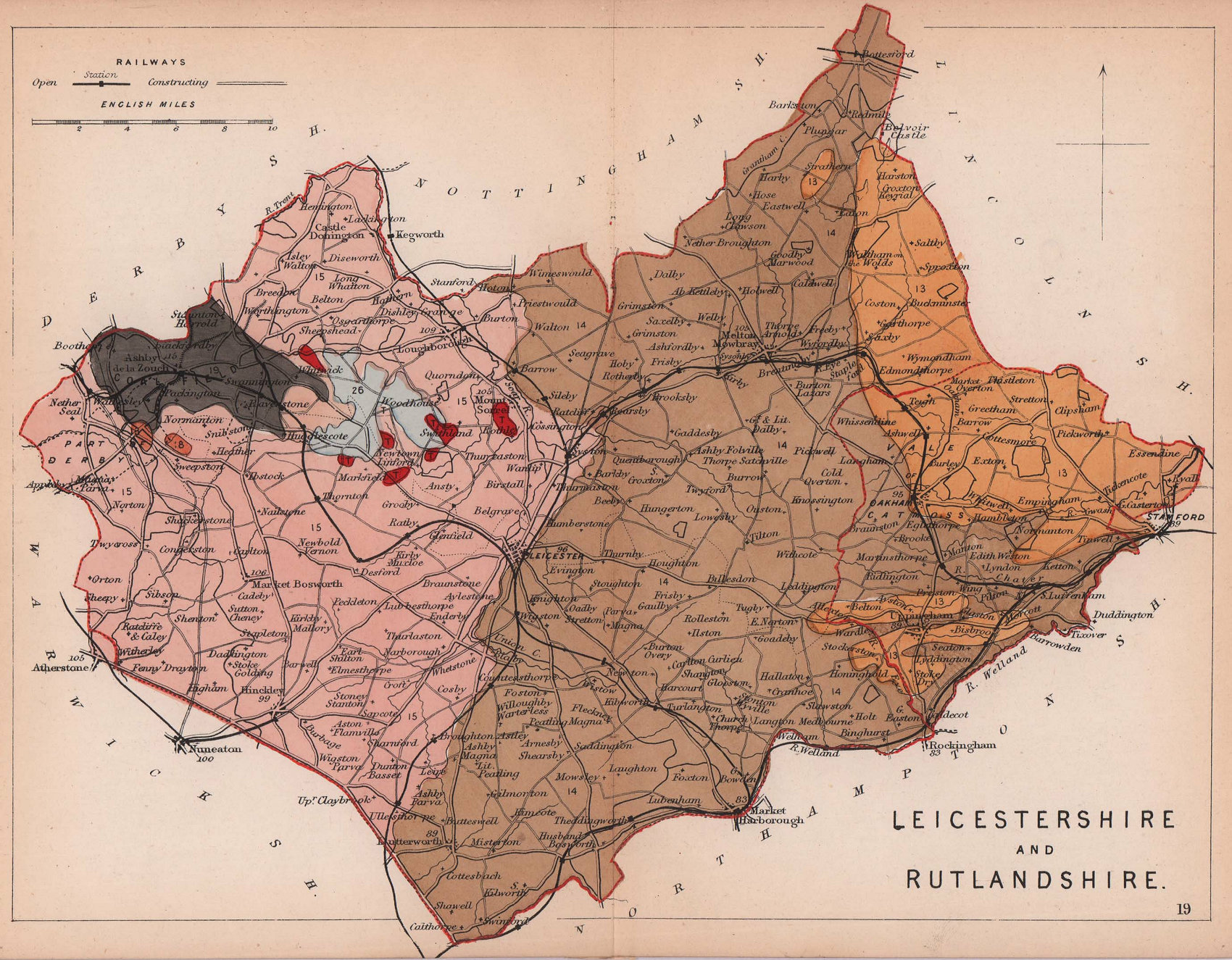 LEICESTERSHIRE & RUTLANDSHIRE antique geological county map. James Reynolds 1864