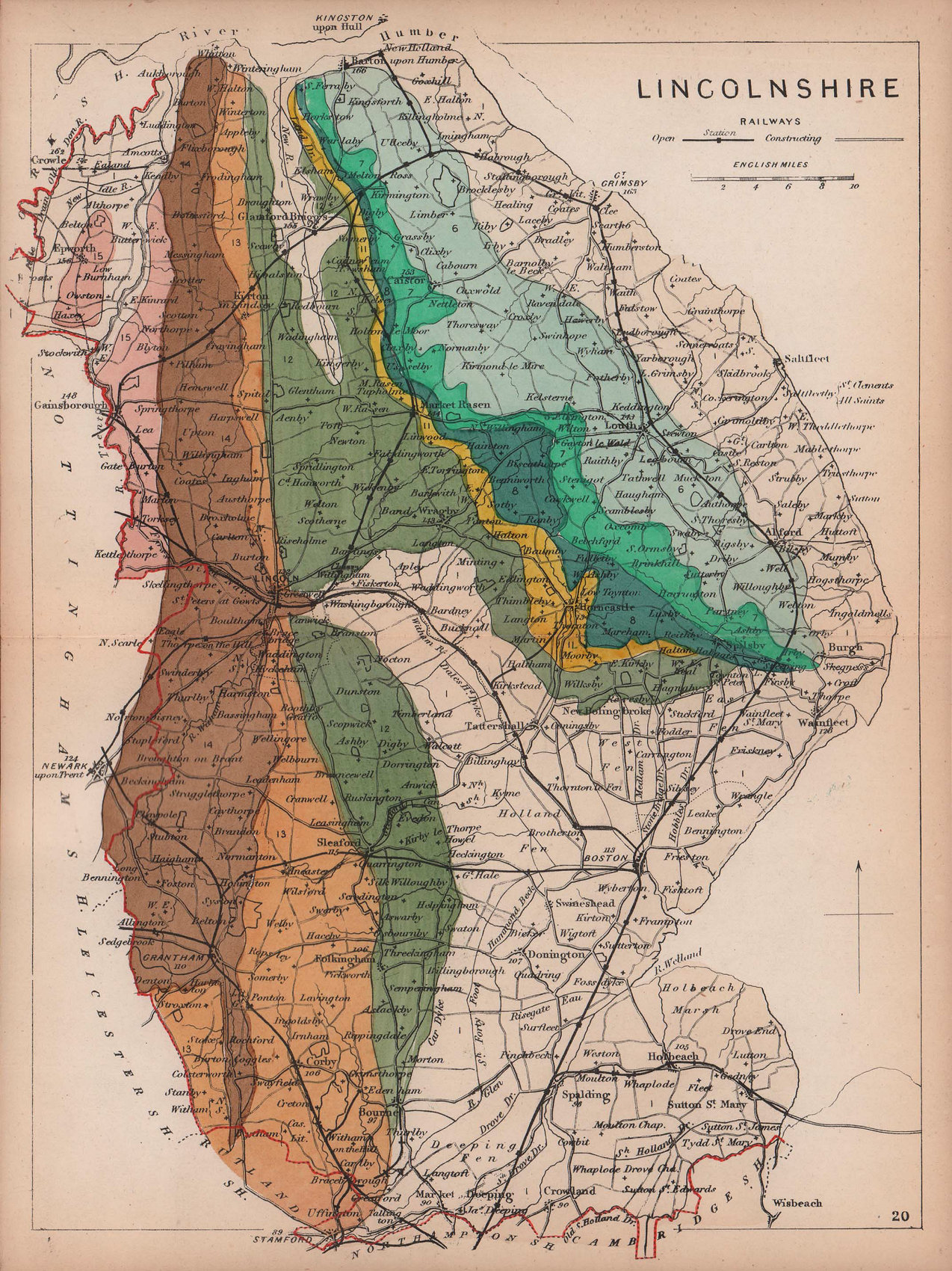 LINCOLNSHIRE antique geological county map by James Reynolds 1864