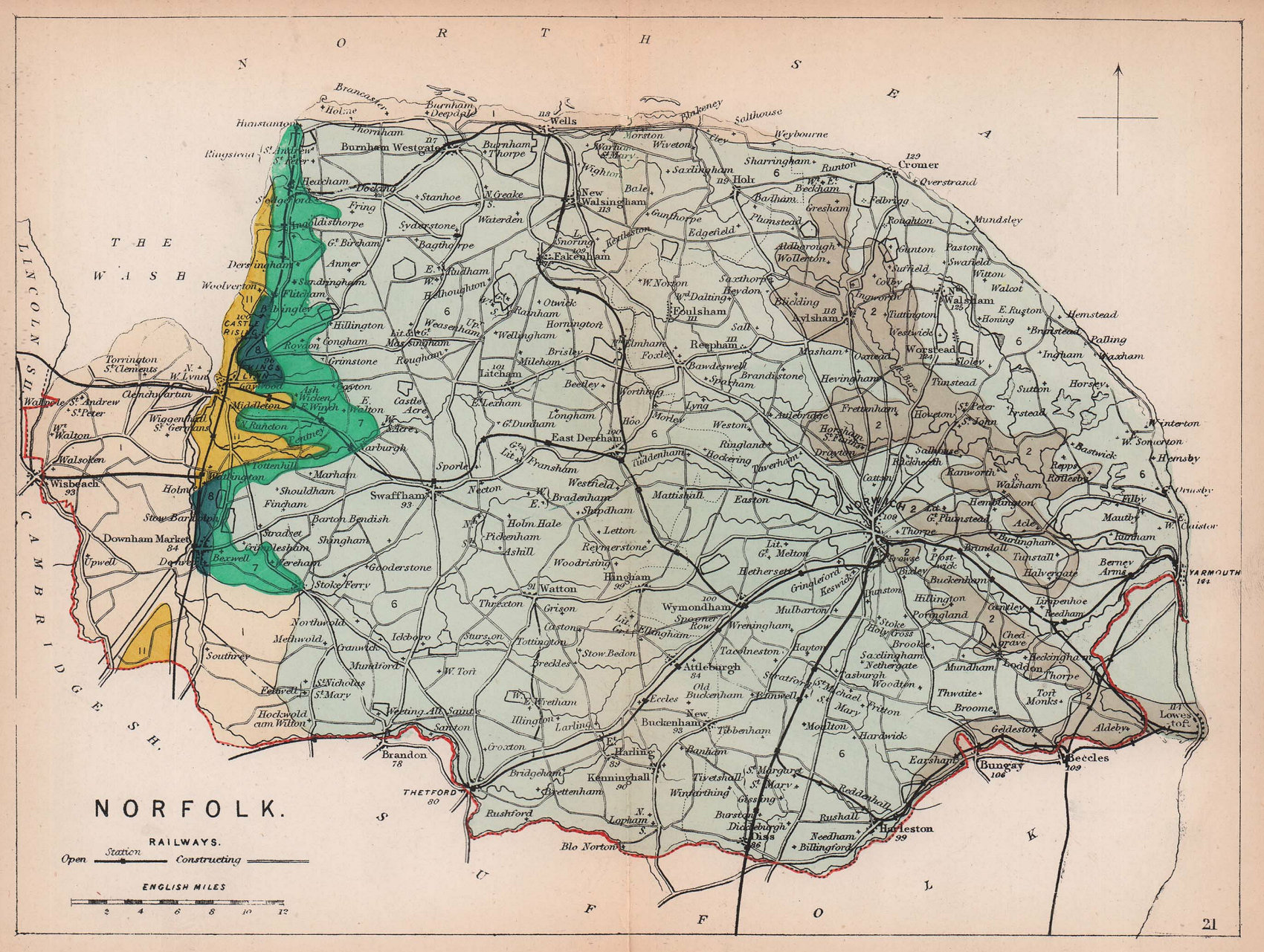 NORFOLK antique geological county map by James Reynolds 1864