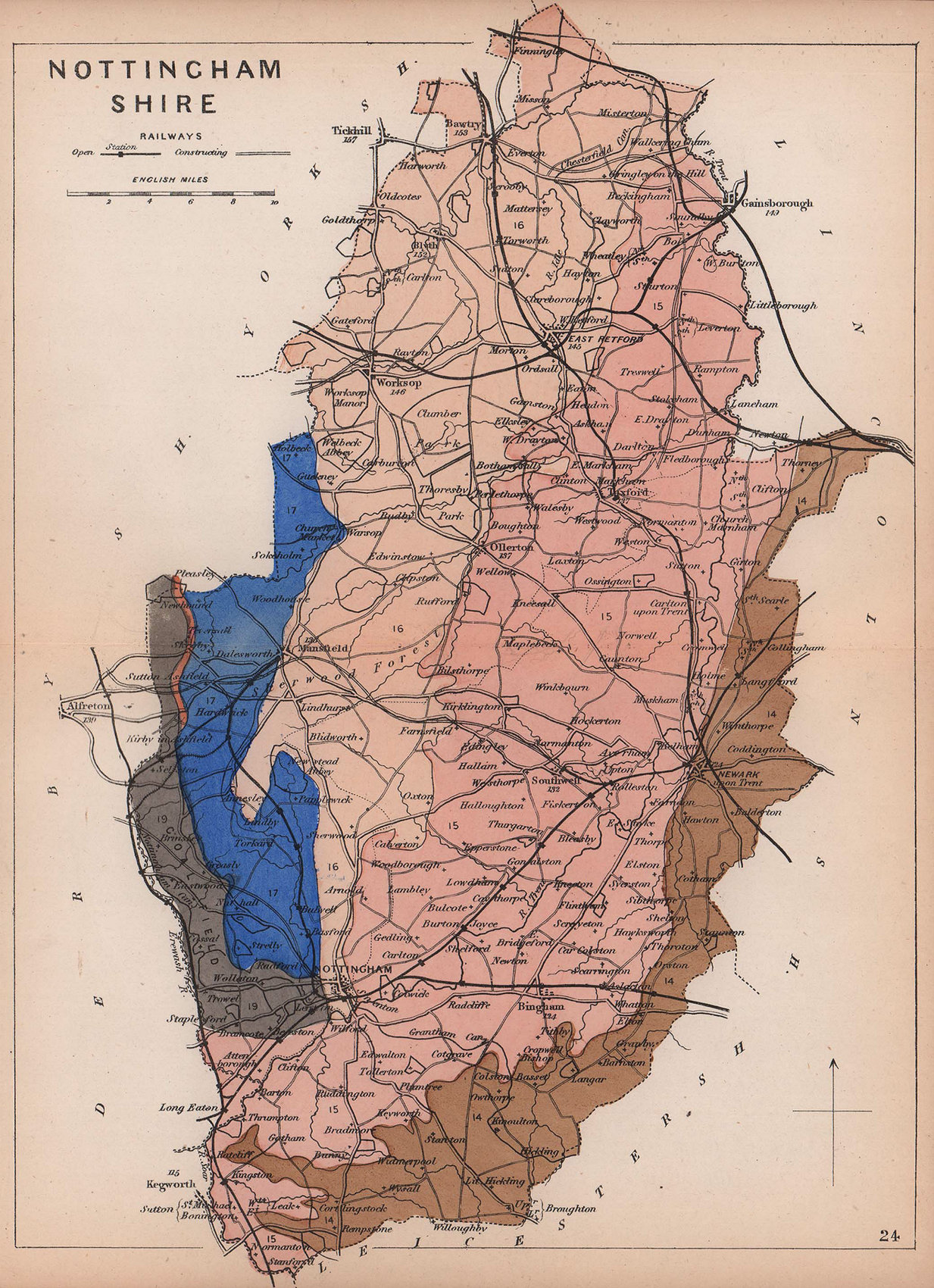 NOTTINGHAMSHIRE antique geological county map by James Reynolds 1864