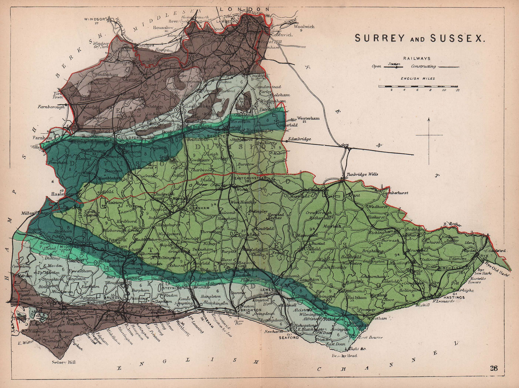 SURREY & SUSSEX antique geological county map by James Reynolds 1864