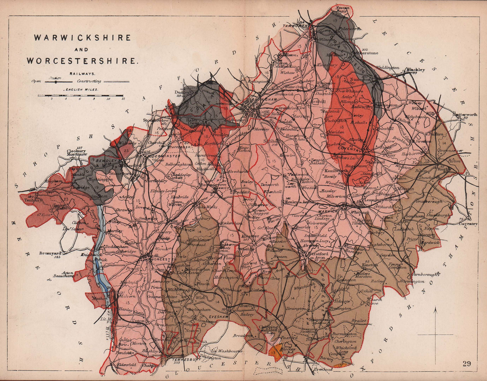 WARWICKSHIRE & WORCESTERSHIRE antique geological county map. James Reynolds 1864