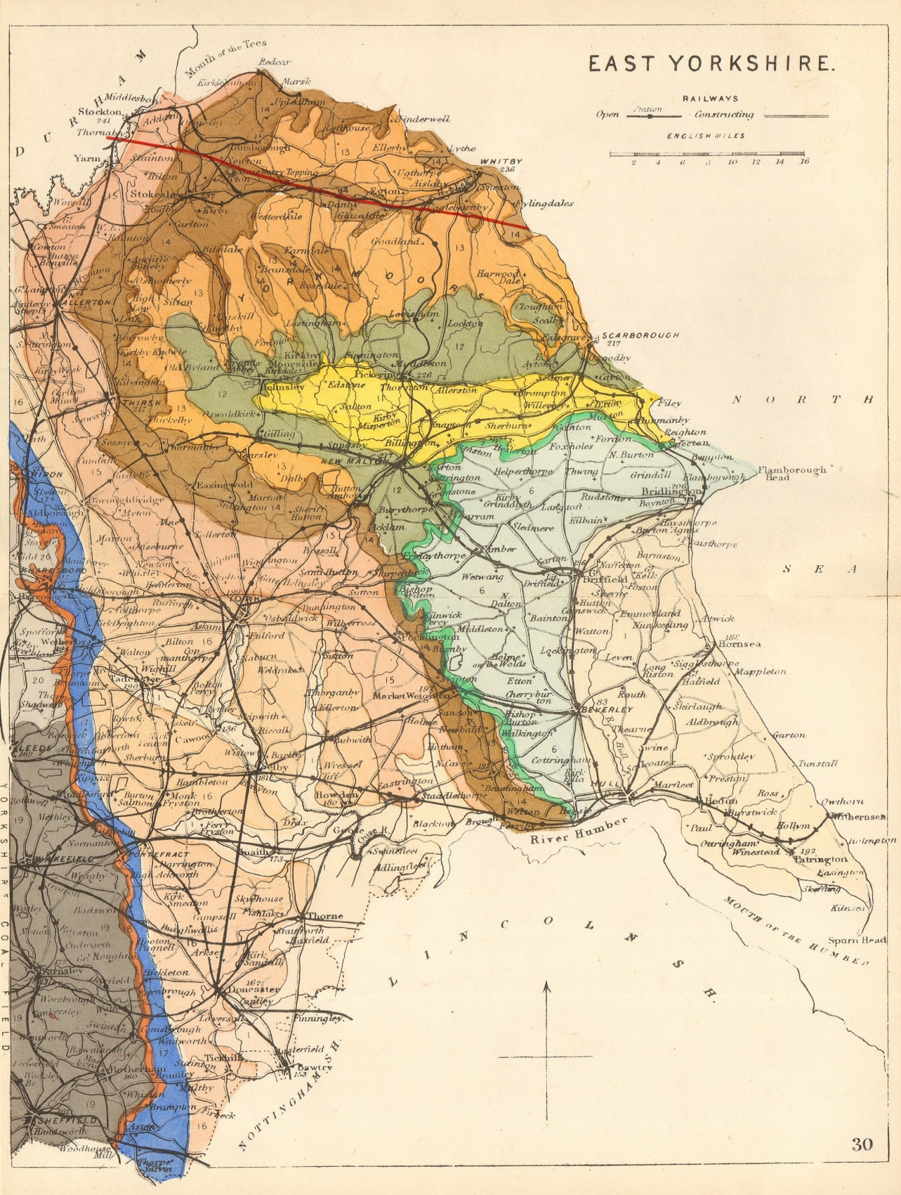 EAST YORKSHIRE antique geological county map by James Reynolds 1864