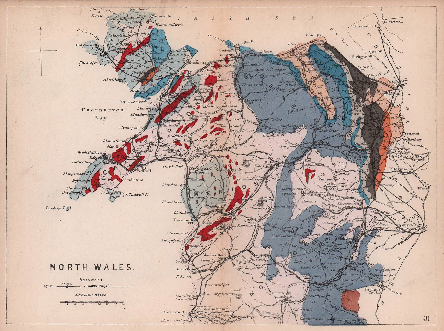NORTH WALES antique geological map by James Reynolds 1864