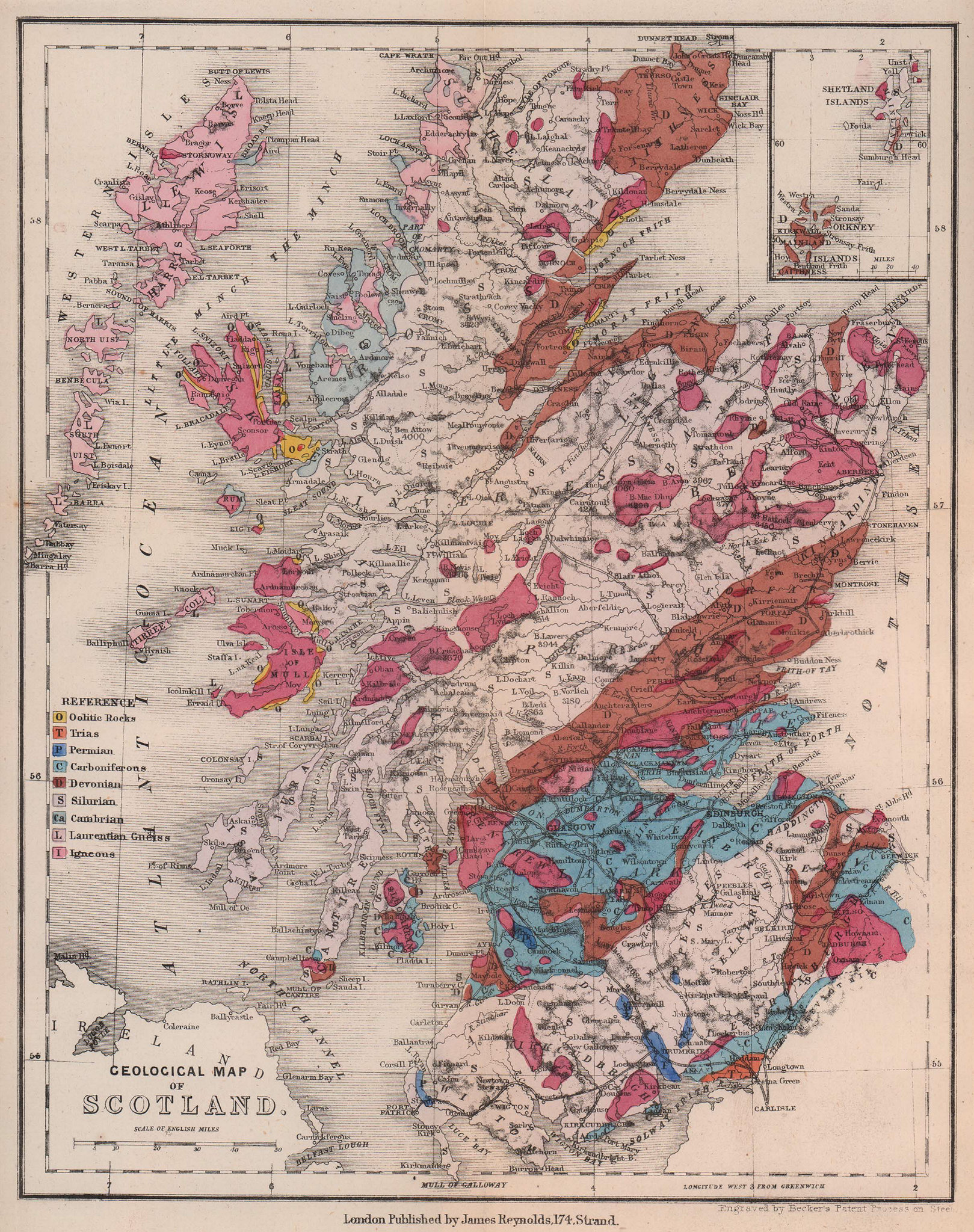 Antique geological map of Scotland by James Reynolds 1864
