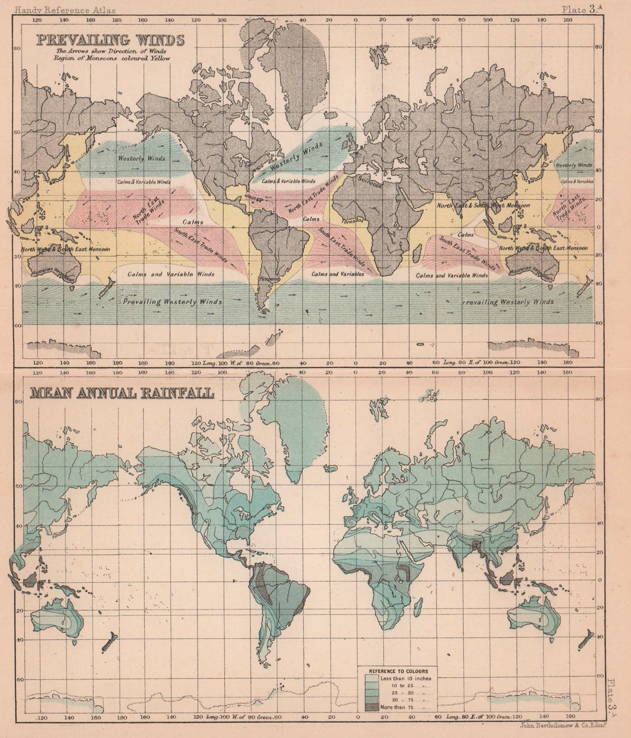 Prevailing Winds & Mean Annual rainfall. World. BARTHOLOMEW 1893 old map