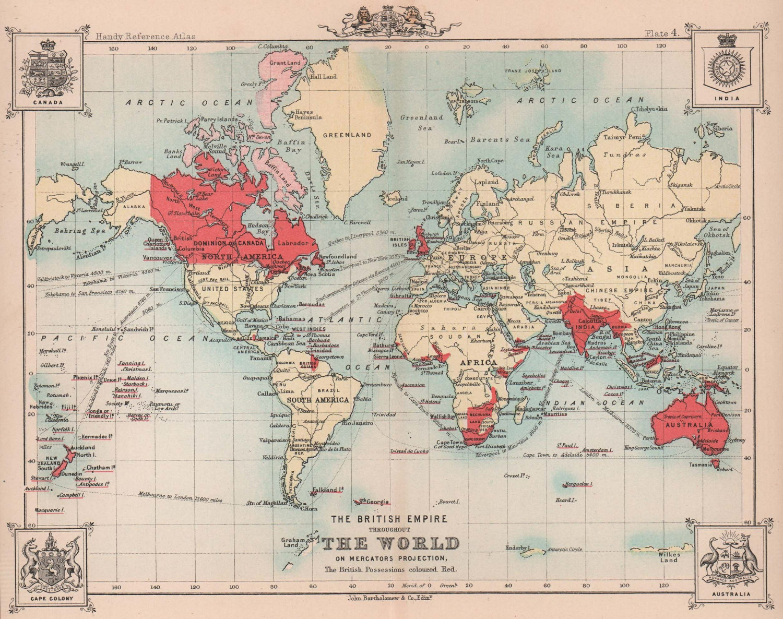 The British Empire throughout The World. BARTHOLOMEW 1893 old antique map