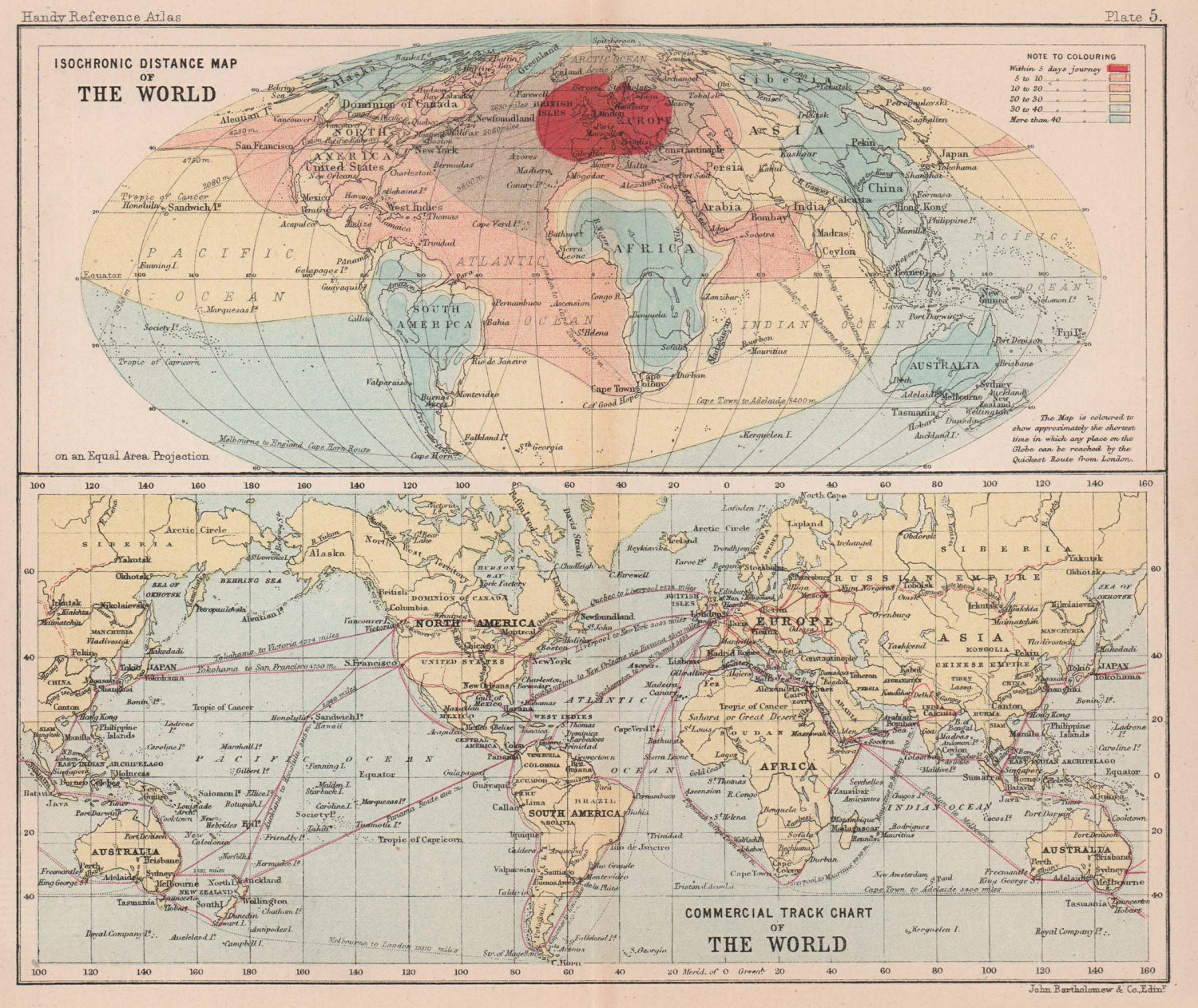 World. Isochronic distance from London. Trade routes. BARTHOLOMEW 1893 old map