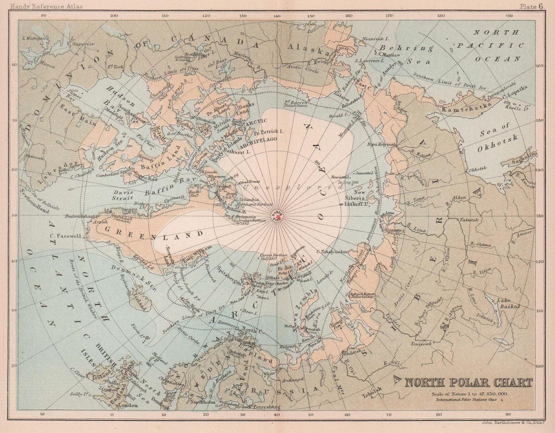 North Polar Chart. Arctic. North Pole. BARTHOLOMEW 1893 old antique map
