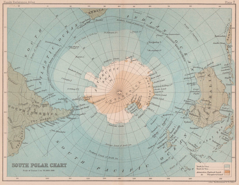 South Polar chart. Antarctic. South Pole. BARTHOLOMEW 1893 old antique map
