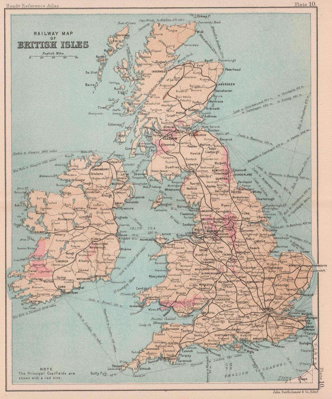 Railway Map of British Isles. Coalfields in pink. BARTHOLOMEW 1893 old
