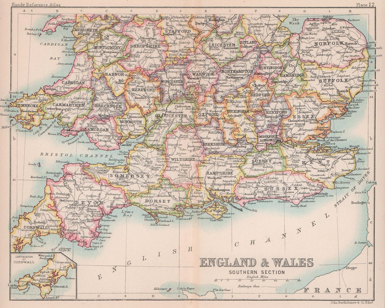 Southern England & Wales. BARTHOLOMEW 1893 old antique vintage map plan chart