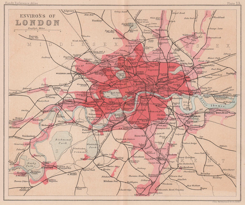Environs of London. BARTHOLOMEW 1893 old antique vintage map plan chart