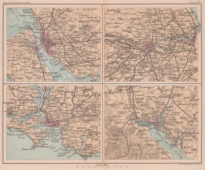 Liverpool, Plymouth, Newcastle & Southampton environs. BARTHOLOMEW 1893 map