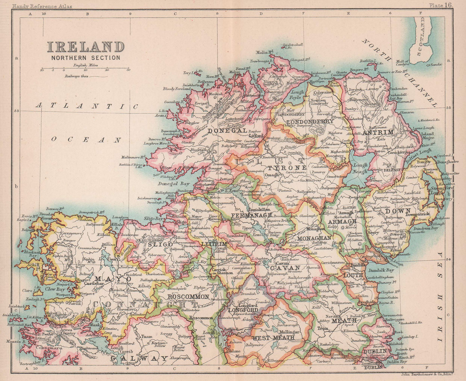 Ireland, Northern Section. Ulster. BARTHOLOMEW 1893 old antique map plan chart