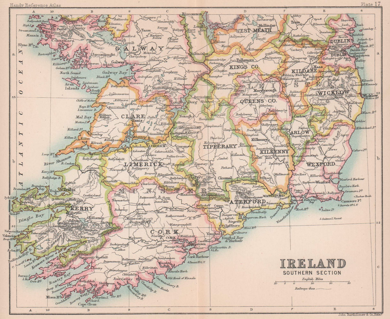 Ireland, Southern section. BARTHOLOMEW 1893 old antique vintage map plan chart