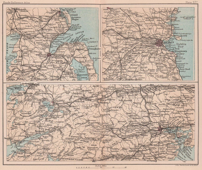 Dublin Belfast Queenstown Cork Killarney environs. Ireland. BARTHOLOMEW 1893 map