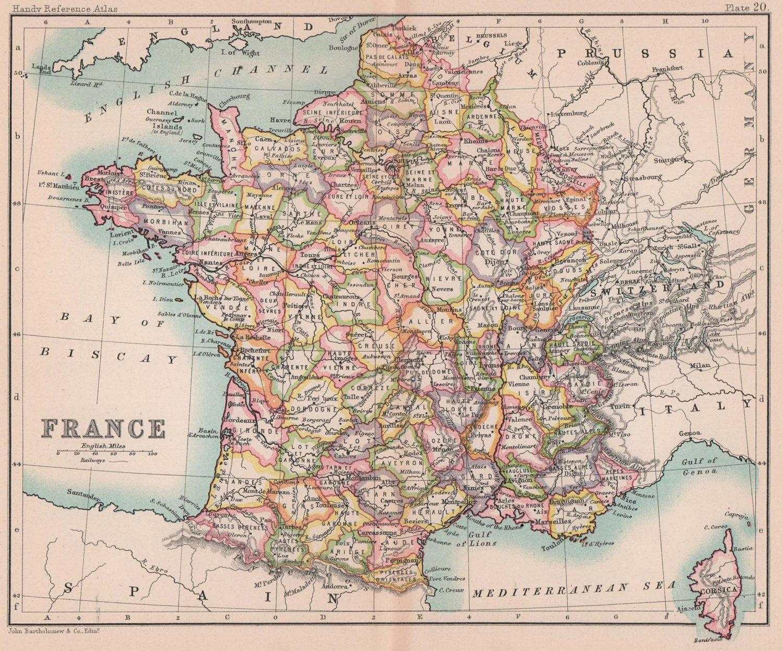 France in departments. BARTHOLOMEW 1893 old antique vintage map plan chart