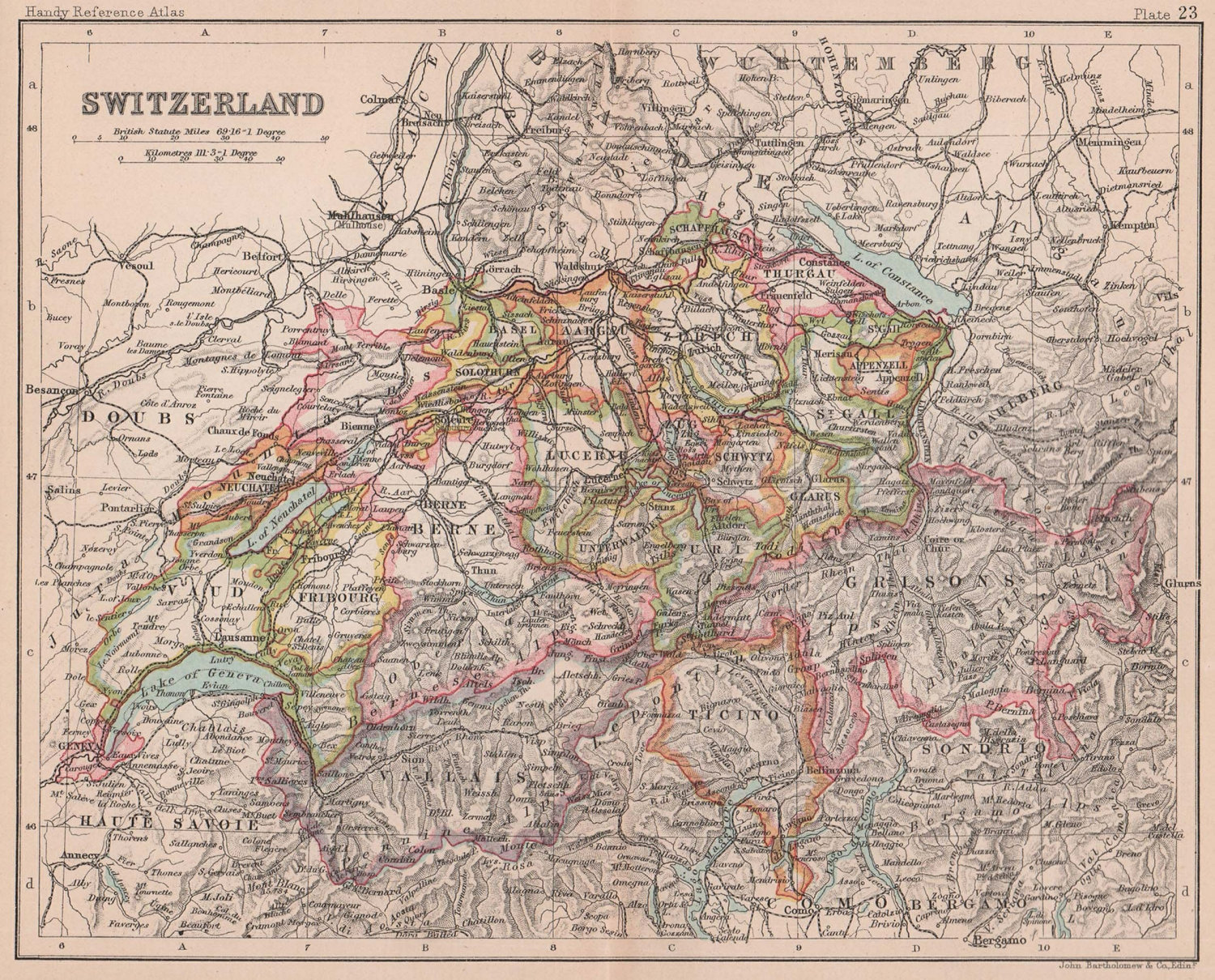 Switzerland in cantons. BARTHOLOMEW 1893 old antique vintage map plan chart