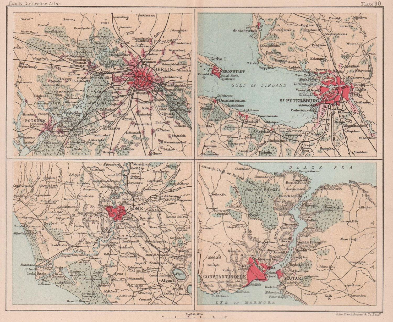 Berlin Rome St. Petersburg Constantinople environs. BARTHOLOMEW 1893 old map