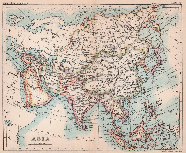 Asia. Persia Siam Anam China Corea. BARTHOLOMEW 1893 old antique map chart