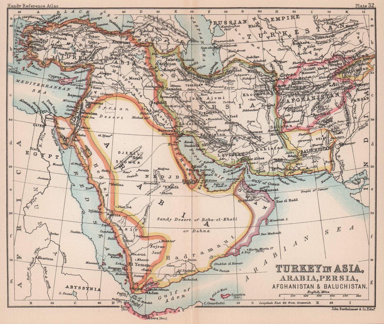 Turkey in Asia Arabia Persia Afghanistan Baluchistan. Shardja/Sharja 1893 map