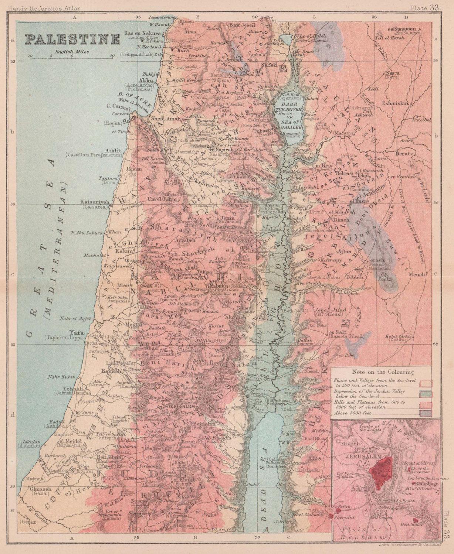 Palestine. Israel Jordan. BARTHOLOMEW 1893 old antique vintage map plan chart