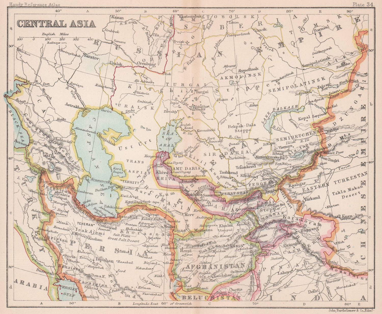 Central Asia. Persia Afghanistan Khiva Bokhara. BARTHOLOMEW 1893 old map