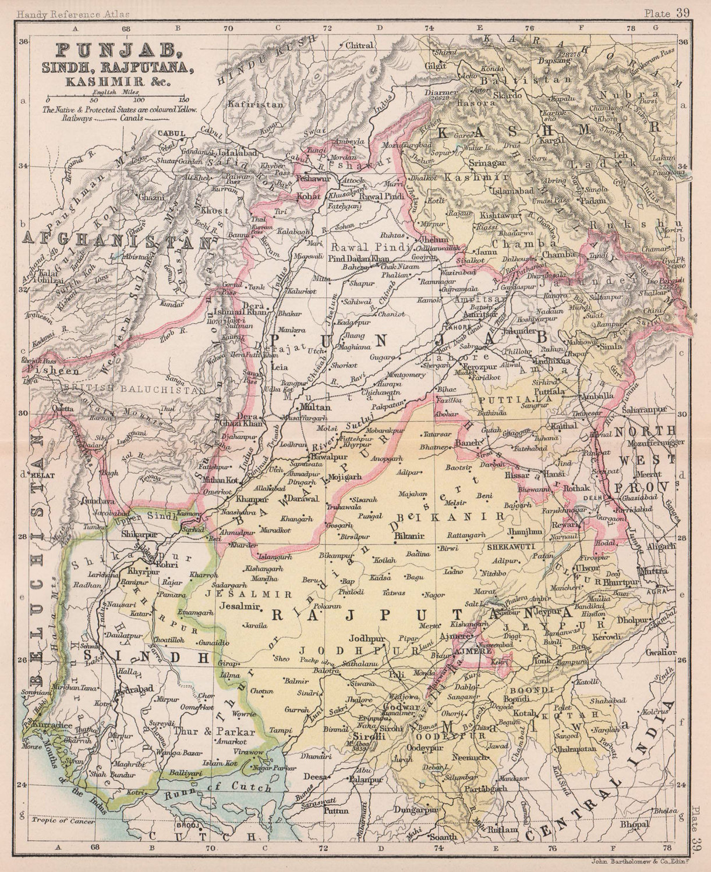 British India NW. Punjab Sindh Rajputana Kashmir Pakistan. BARTHOLOMEW 1893 map