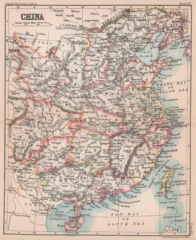 China antique map. BARTHOLOMEW 1893 old vintage plan chart