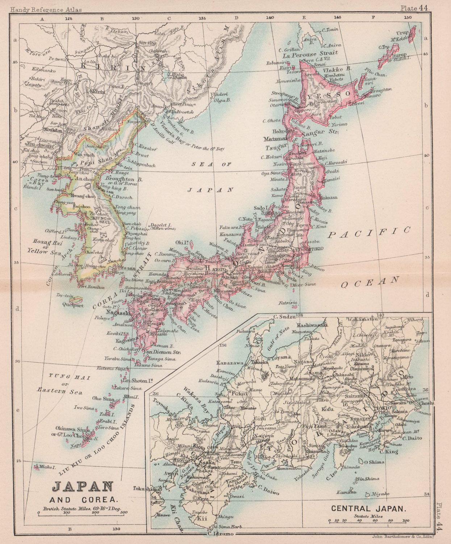 Japan & Corea antique map. BARTHOLOMEW 1893 old vintage plan chart