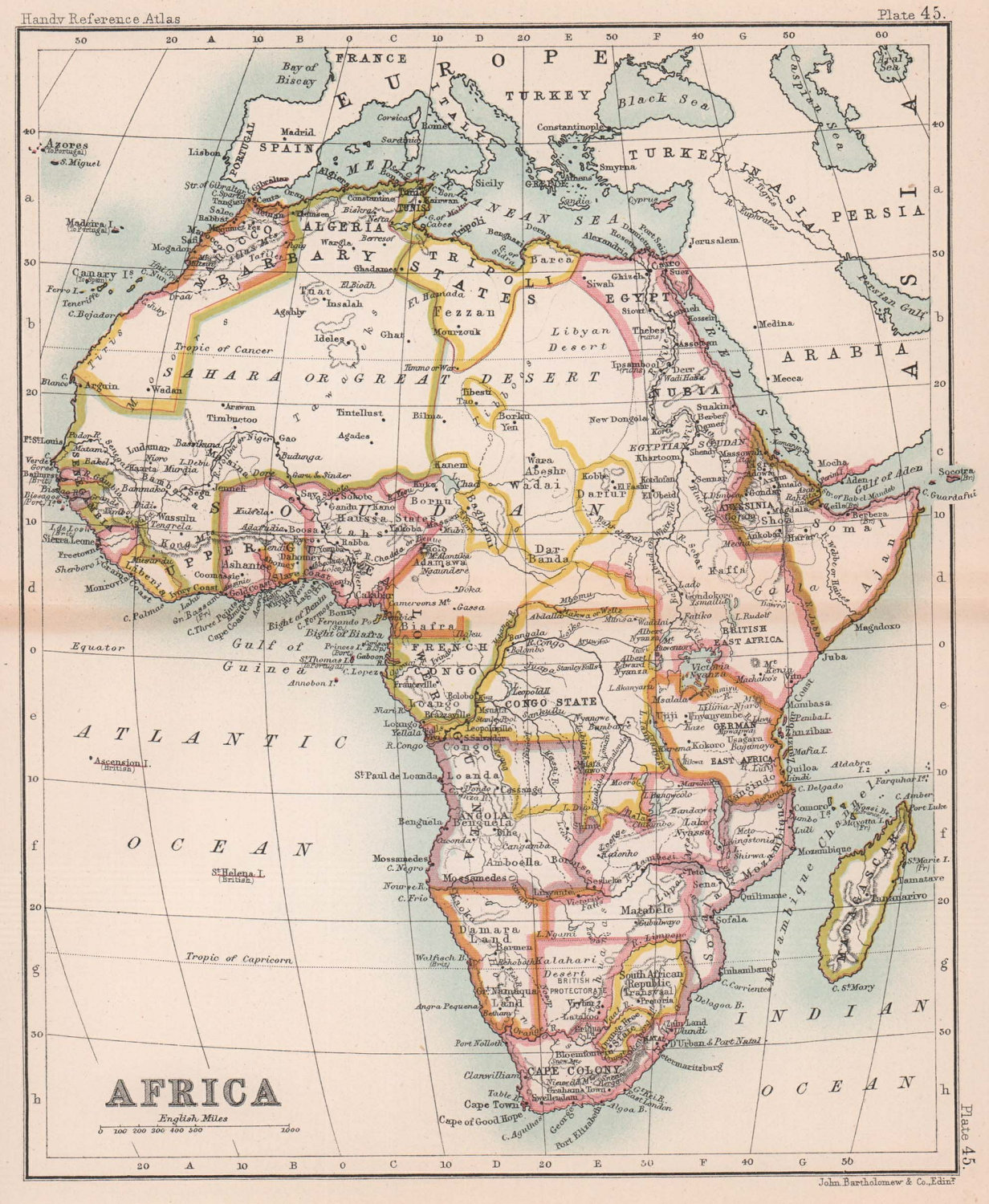 Colonial Africa. Antique map. BARTHOLOMEW 1893 old plan chart