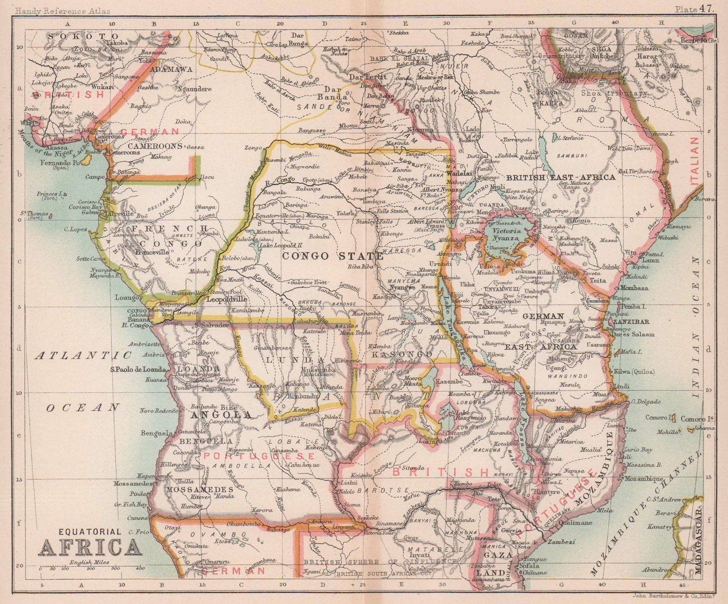 Colonial Equatorial / Central Africa. Congo Angola. BARTHOLOMEW 1893 old map