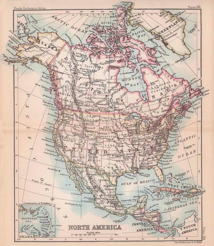 North America. United States Canada Mexico. BARTHOLOMEW 1893 old antique map
