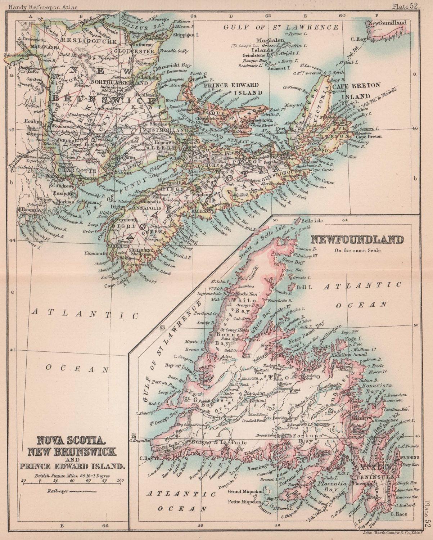Nova Scotia, New Brunswick, PEI & Newfoundland. Canada. BARTHOLOMEW 1893 map