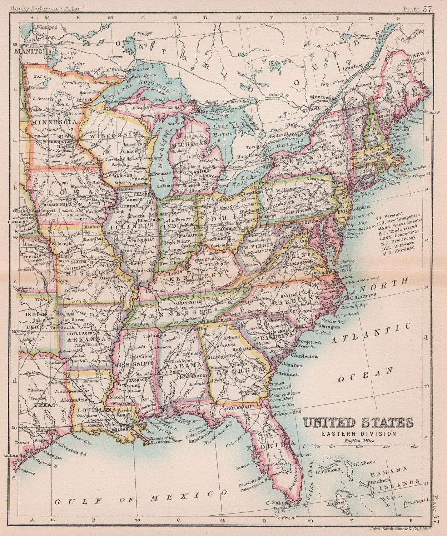 United States Eastern Division. USA. BARTHOLOMEW 1893 old antique map chart