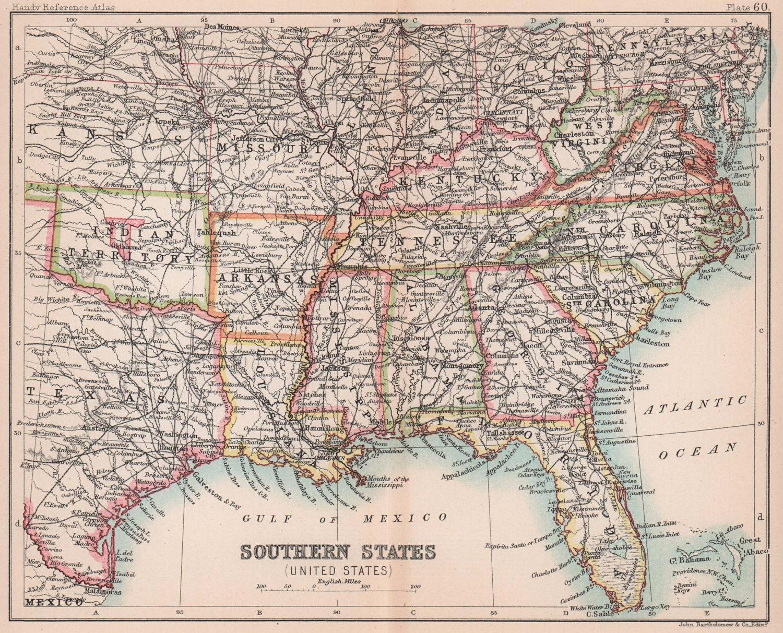 Southeastern USA. Indian Territory. ARTHOLOMEW 1893 old antique map plan chart