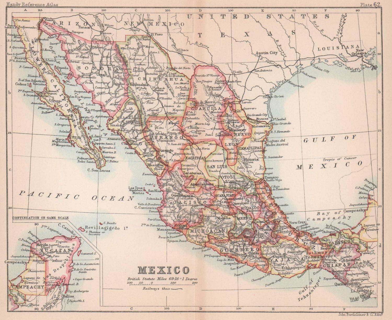 Mexico. Antique map. BARTHOLOMEW 1893 old vintage plan chart
