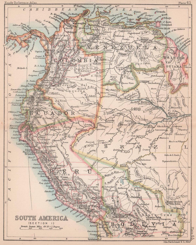 South America #1. Peru Ecuador Colombia Venezuela Amazonia. BARTHOLOMEW 1893 map