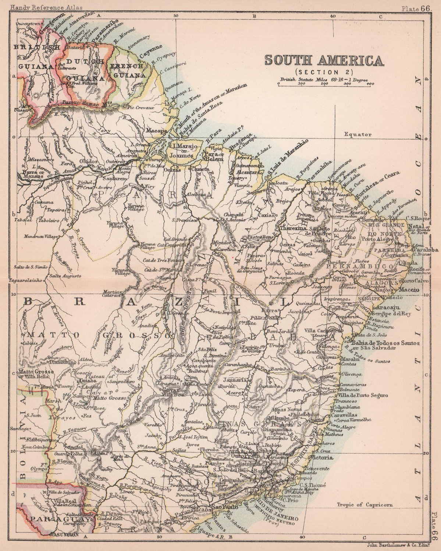 South America #2. Brazil. BARTHOLOMEW 1893 old antique vintage map plan chart