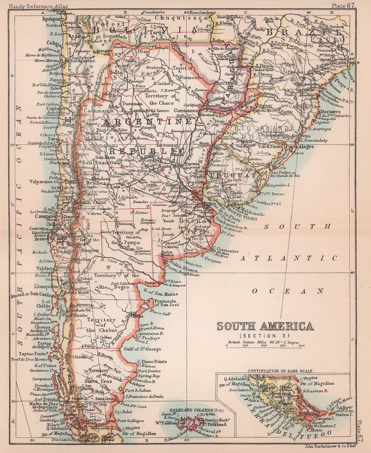 South America #3. Argentina Chile Patagonia Paraguay. BARTHOLOMEW 1893 old map