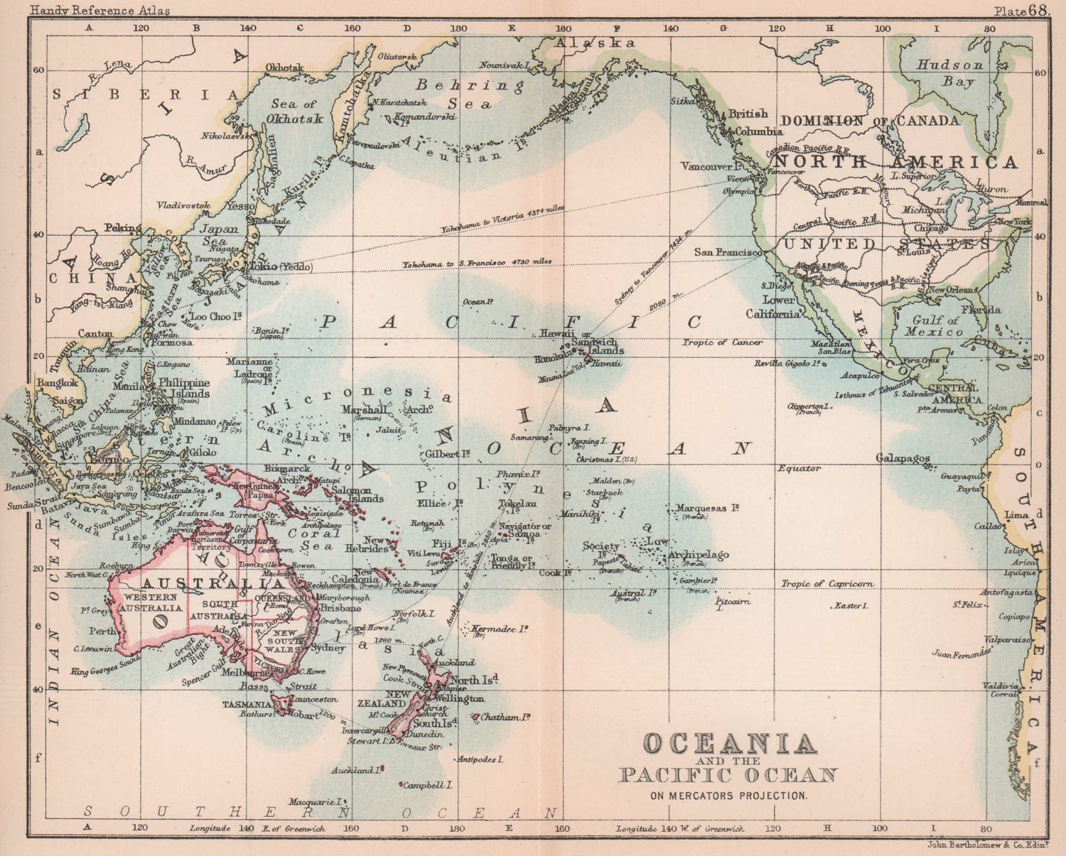Oceania & the Pacific Ocean. BARTHOLOMEW 1893 old antique map plan chart