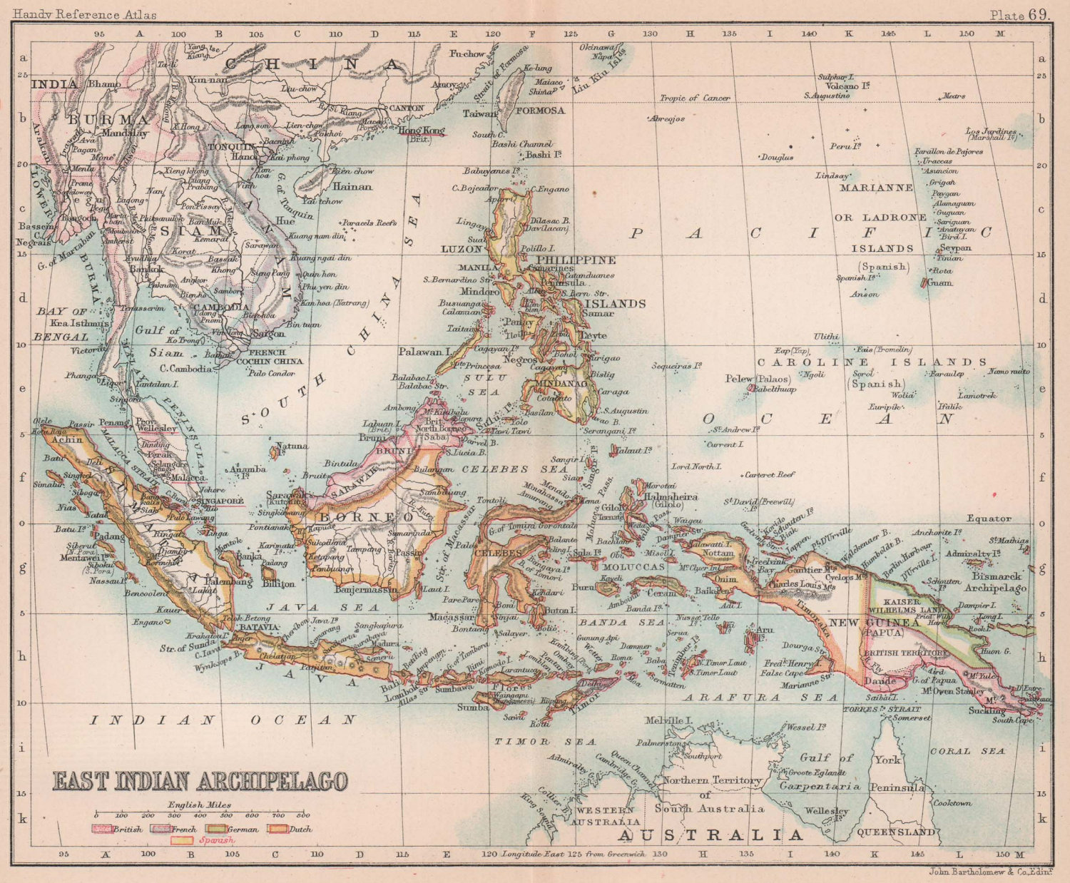 East Indian Archipelago. Indonesia Philippines & Indochina. BARTHOLOMEW 1893 map