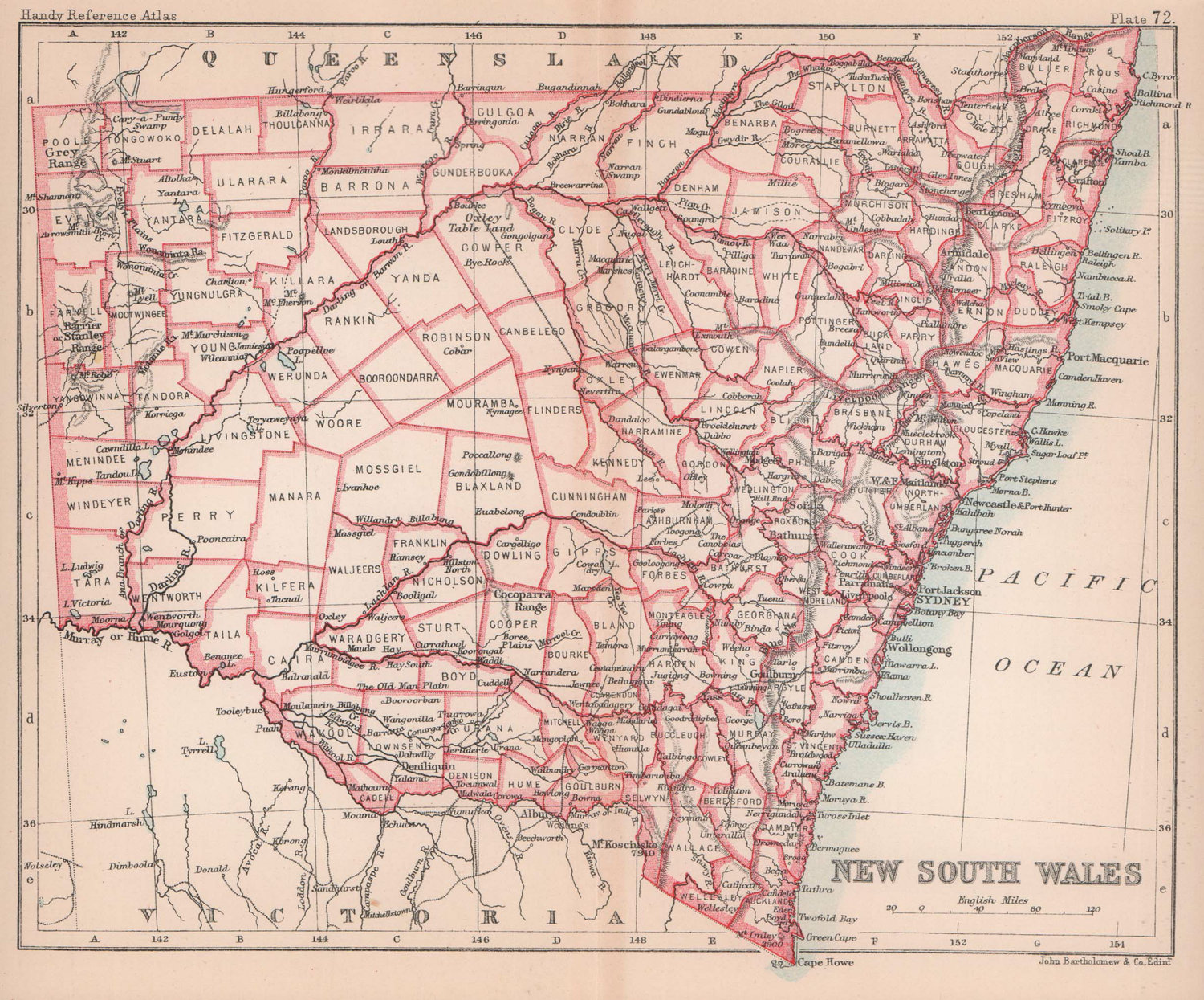 New South Wales in counties. BARTHOLOMEW 1893 old antique map plan chart